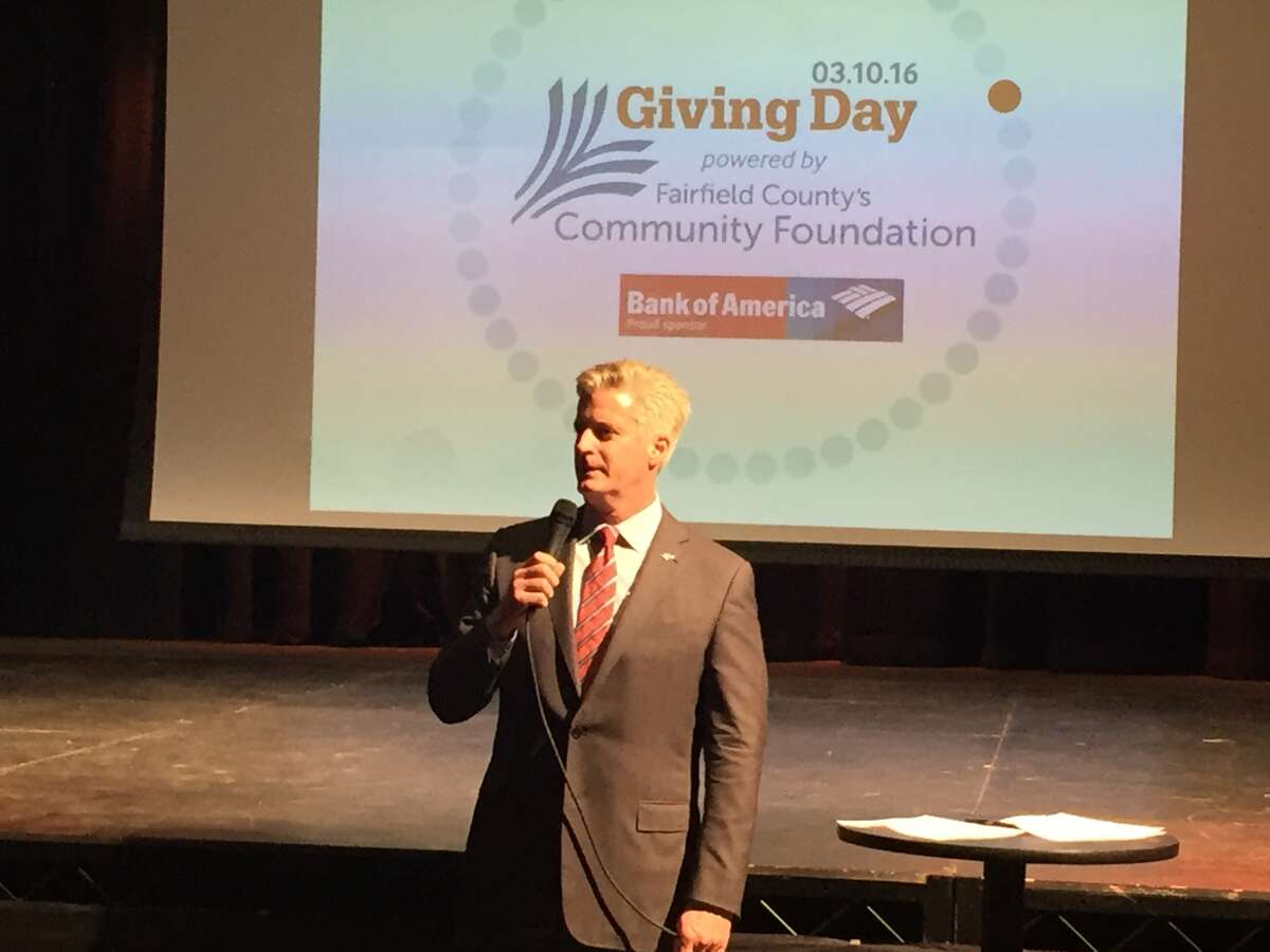 Bill Tommins, Bank of America's Southern Connecticut market president, speaks at Fairfield County's Giving Day launch party. Bank of America is Giving Day's lead sponsor.