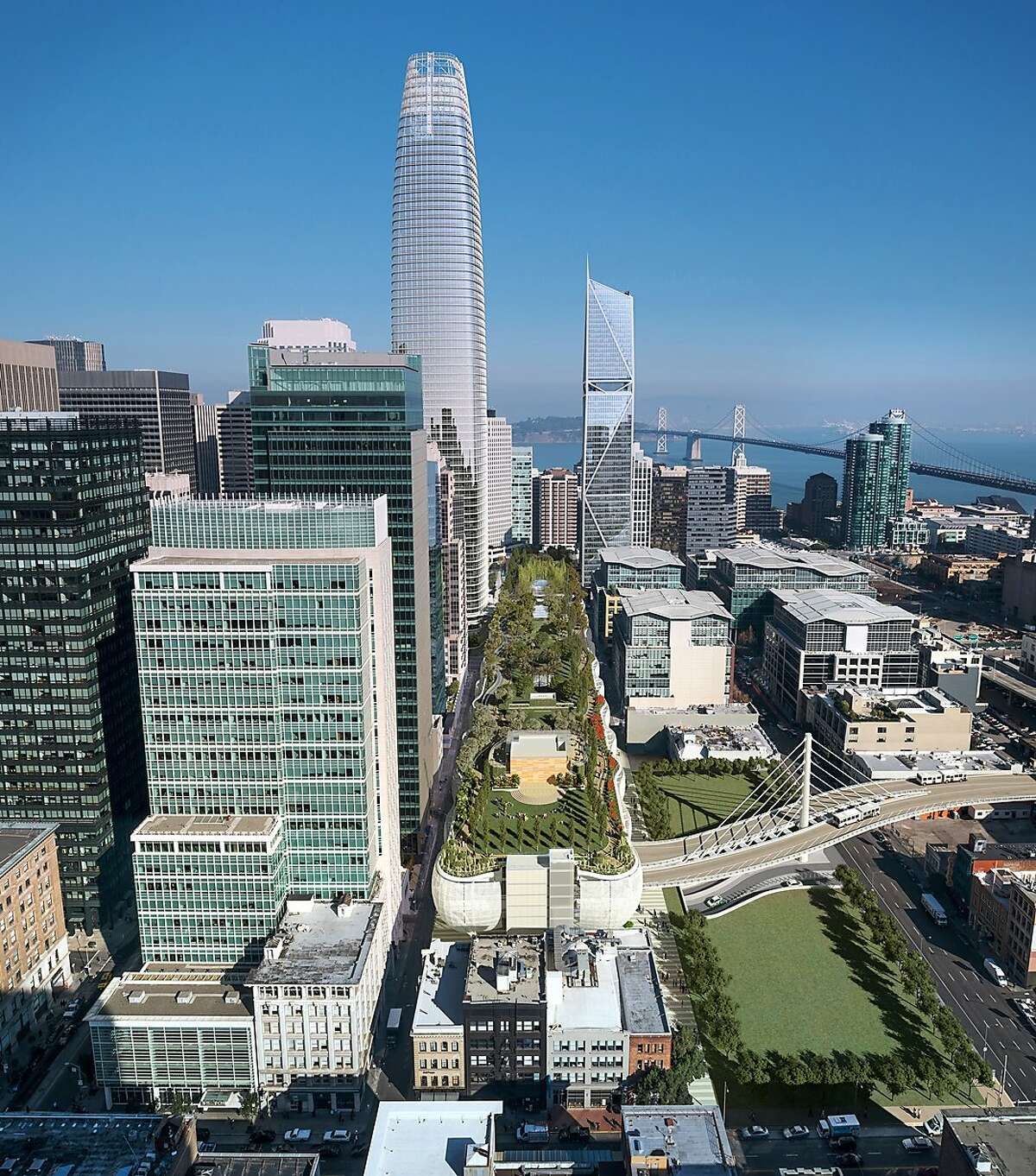 Overhead photo illustration of planned $2.2 billion Transbay Transit Center featuring a three-block-long roof garden. With project costs souring, San Francisco city officials plan to take control of the construction.