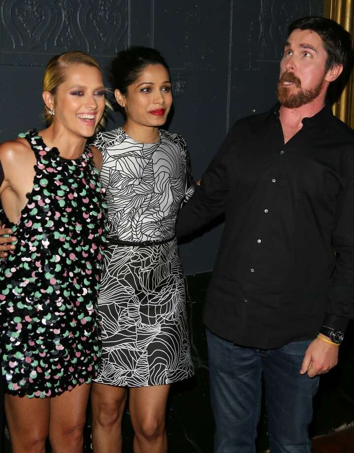 Actress Freida Pinto, Teresa Palmer and Christian Bale attend the premiere of Broad Green Pictures' 'Knight of Cups' held at The Theatre at Ace Hotel on March 1, 2016 in Los Angeles, California. Photo: JB Lacroix, WireImage