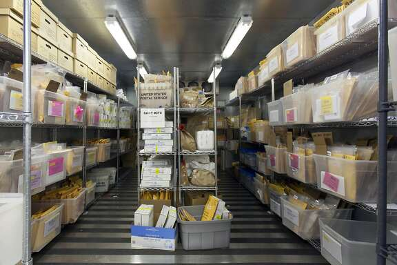One of the secure cold storage freezers at the State of California Department of Justice Bureau of Forensic Services DNA Laboratory in Richmond, California, USA 26 Feb 2016. (Peter DaSilva/Special to The Chronicle)