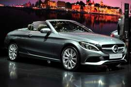 GENEVA, SWITZERLAND - MARCH 02:  A Mercedes-Benz C-Class Cabriolet is displayed during the Geneva Motor Show 2016 on March 2, 2016 in Geneva, Switzerland.
