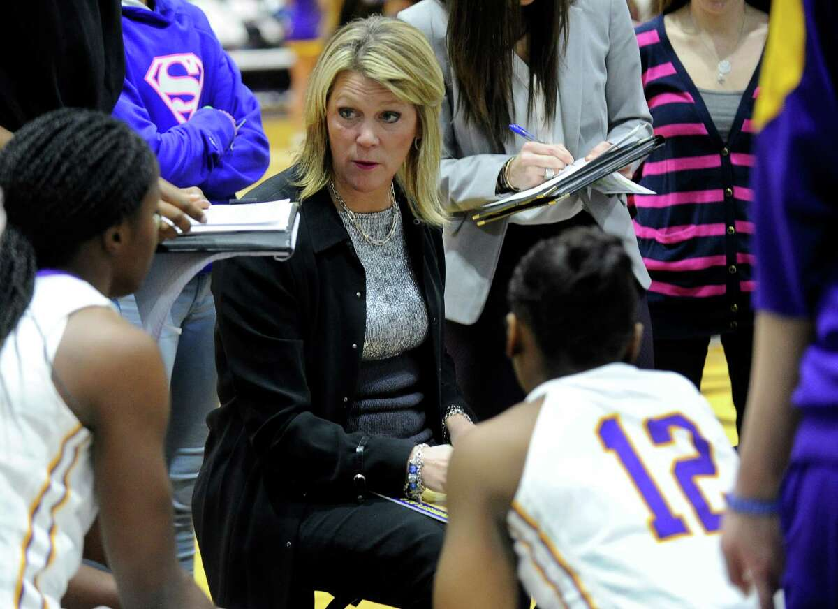 UAlbany head coach Katie Abrahamson-Henderson instructs her players against Binghamton during the first half of an NCAA women's college basketball game on Monday, Feb. 8, 2016, in Albany, N.Y. (Hans Pennink / Special to the Times Union) ORG XMIT: HP101