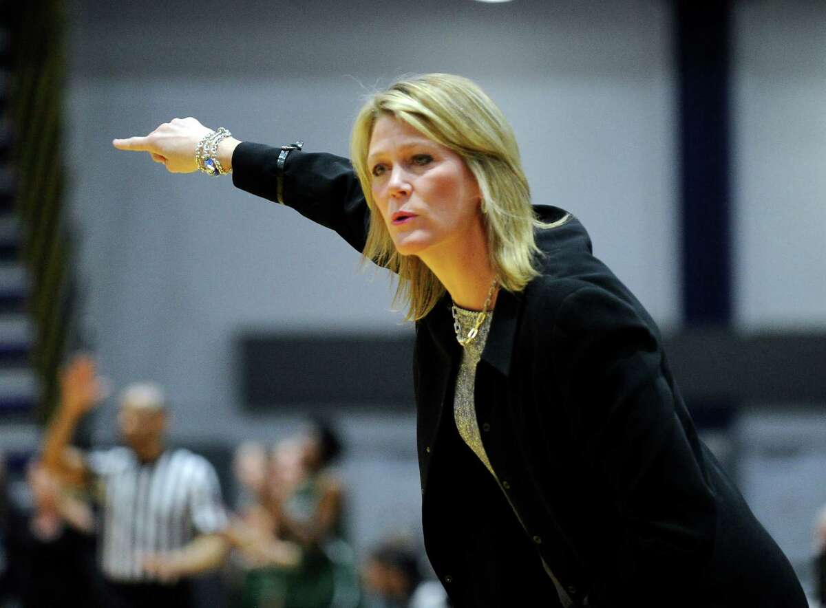 UAlbany head coach Katie Abrahamson-Henderson instructs her players against Binghamton during the first half of an NCAA women's college basketball game on Monday, Feb. 8, 2016, in Albany, N.Y. (Hans Pennink / Special to the Times Union) ORG XMIT: HP102