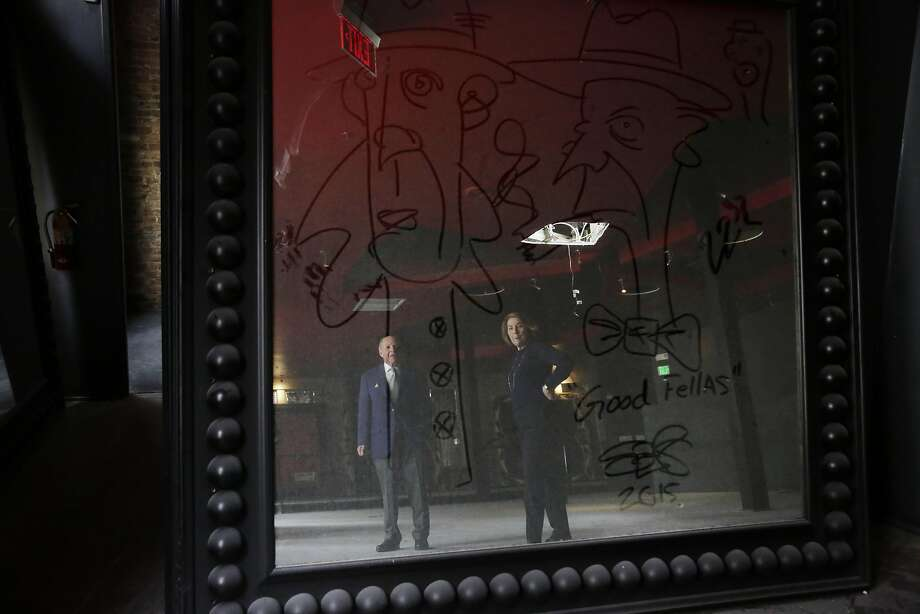John Berggruen (l to r) and Gretchen Berggruen look over a d rawing made on a mirror at the site of where their new gallery will be moved after it is renovated on Thursday, March 10, 2016 in San Francisco, California.rr Photo: Lea Suzuki Lea Suzuki, The Chronicle