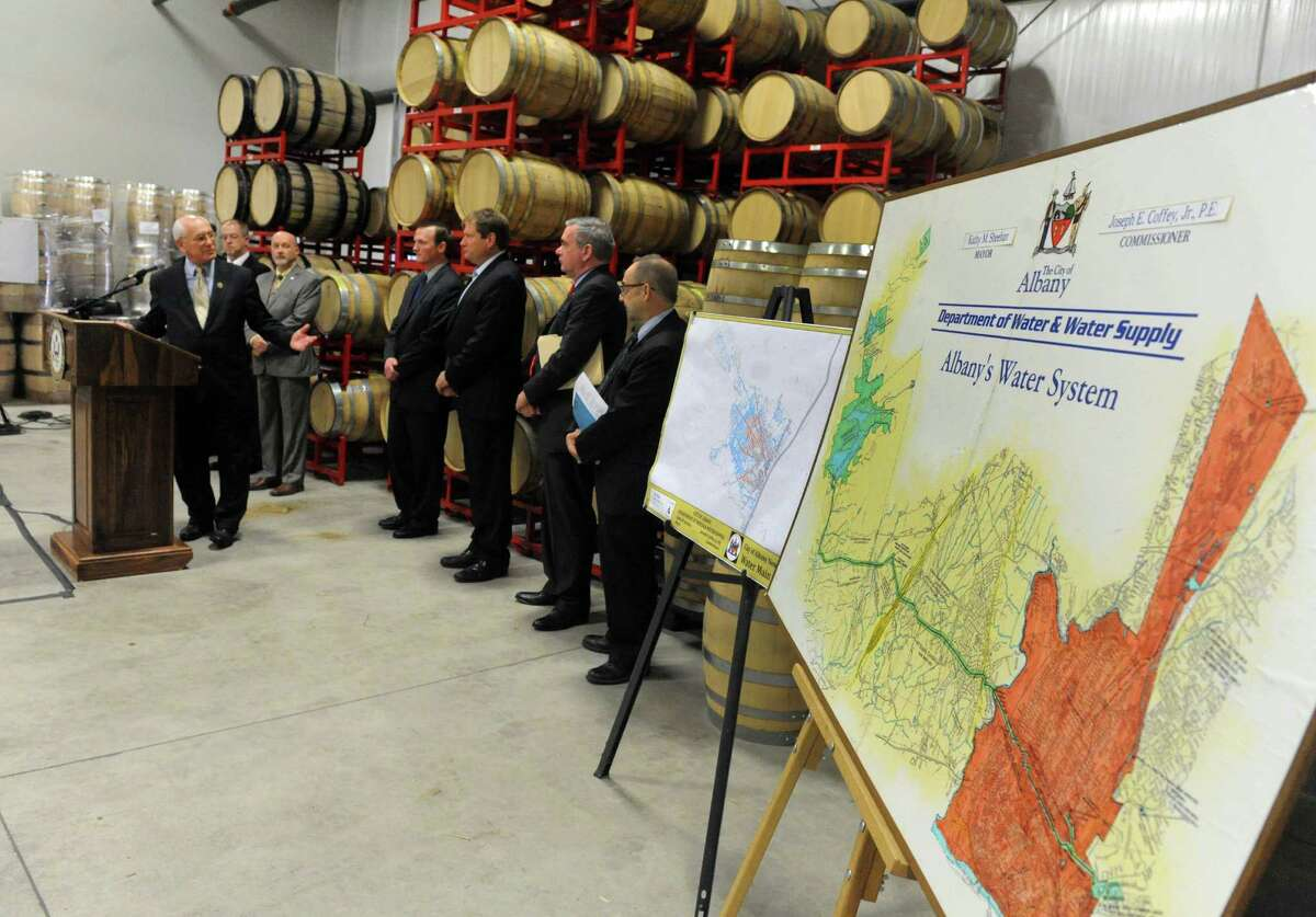 U.S. Congressman Paul Tonko discusses legislation for the AQUA Act, which updates the Safe Drinking Water Act to significantly increase funding authorization levels for local communities with water infrastructure deficiencies, during a press conference at Yankee Distillers on Thursday March 10, 2016 in Clifton Park, N.Y. (Michael P. Farrell/Times Union)