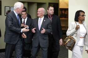 Sen. John Cornyn, left, talks with Judge Fred Biery (right) during a tour of the John H. Wood Jr. U.S. Courthouse in 2015. Biery admonished lawyers in a civil case involving trade secrets.