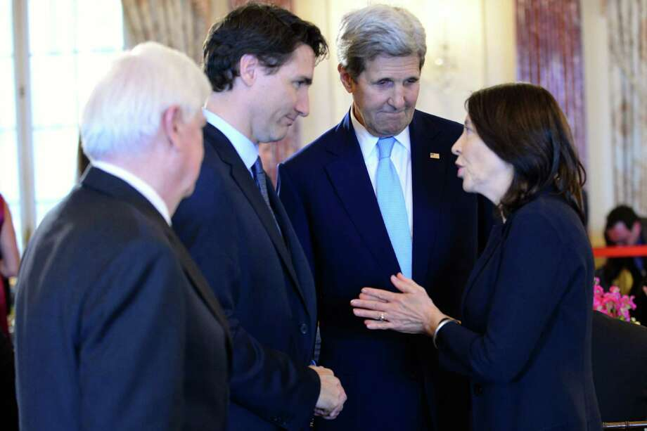 On Washington, D.C., visit last year, Trudeau meets Washington's U.S. Sen. Maria Cantwell. Then-Secretary of State John Kerry is in the middle.  Photo: Courtesy Sen. Maria Cantwell's Office / 2016 Maria Cantwell