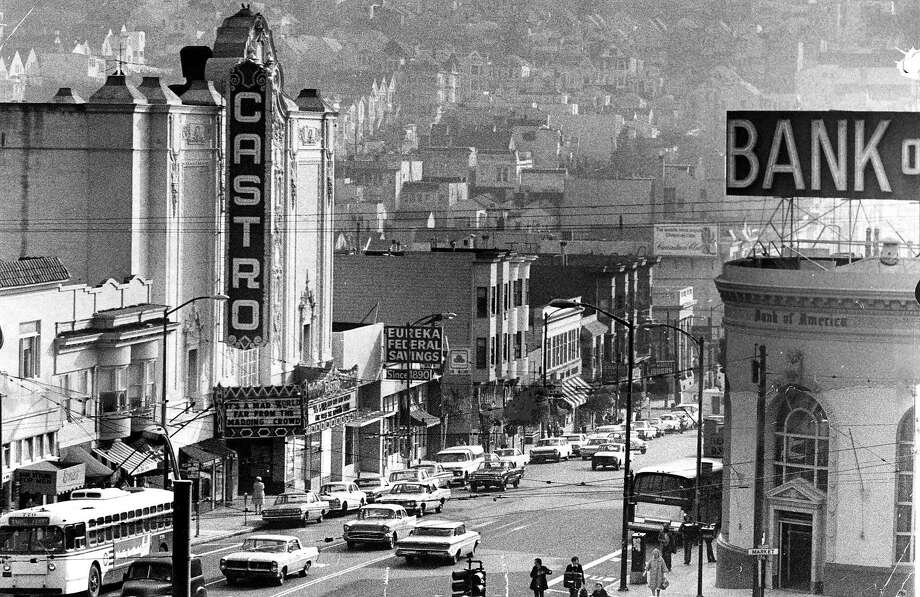Castro Theater, showing Castro Street from Market to 18th Street, January 8,  1971. Photo: Joe Rosenthal / The Chronicle 1971