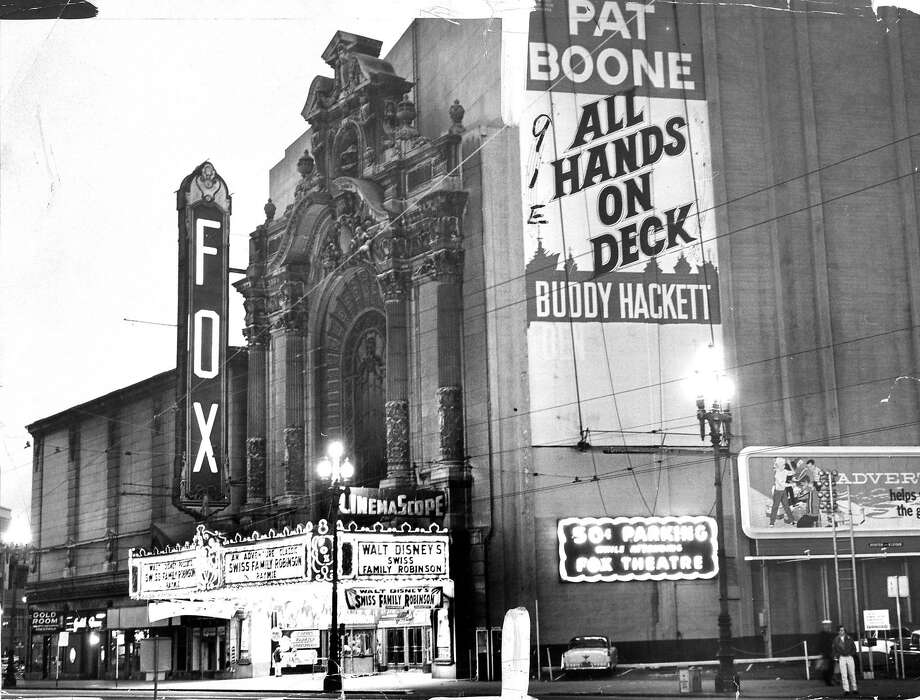 "Fox Theater, on Market Street, San Francisco, in 1961. Featuring Pat Boone and Buddy Hackett in ""All Hands On Deck"", Photo: Joe Rosenthal, The Chronicle"