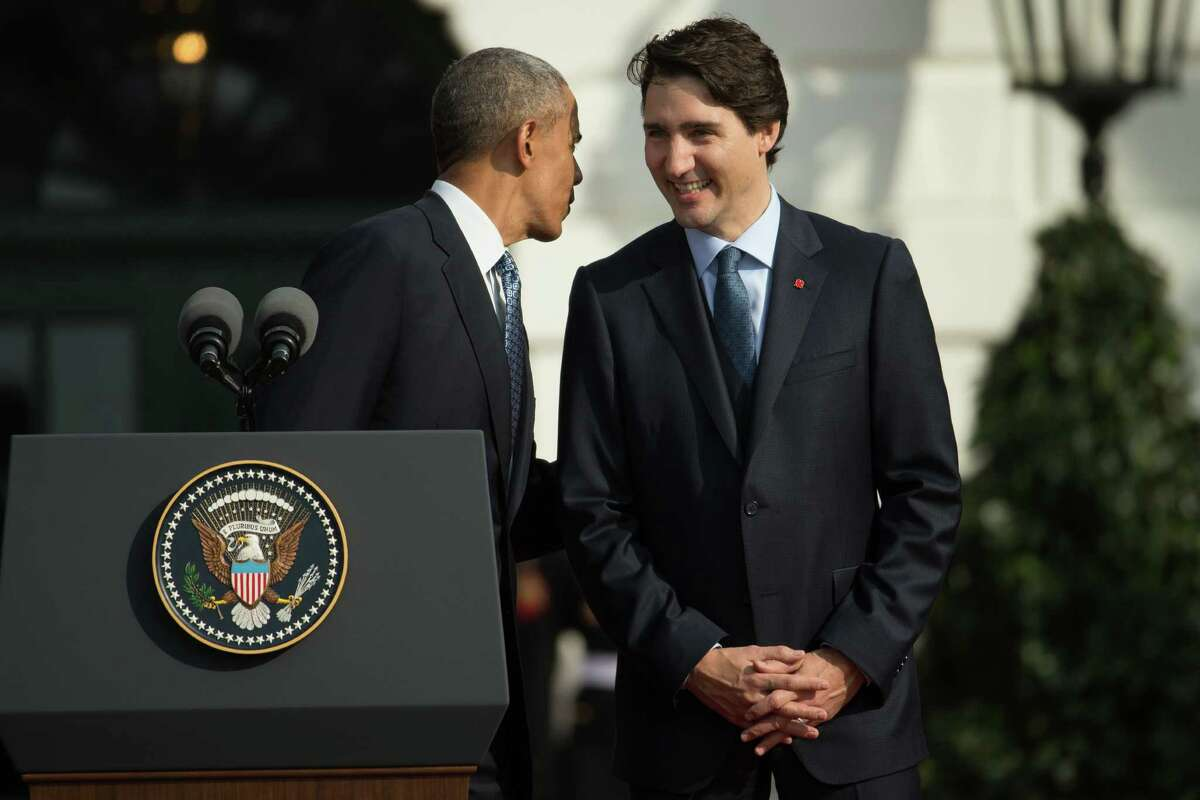 President Barack Obama speaks with CanadaÂ?'s Prime Minister Justin Trudeau, during an arrival ceremony on the South Lawn of the White House in Washington, Thursday, March 10, 2016. (AP Photo/Andrew Harnik)