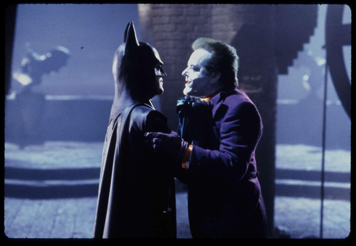 Michael Keaton as Batman, Jack Nicholson as Joker in Batman, 1989 DC Comics.