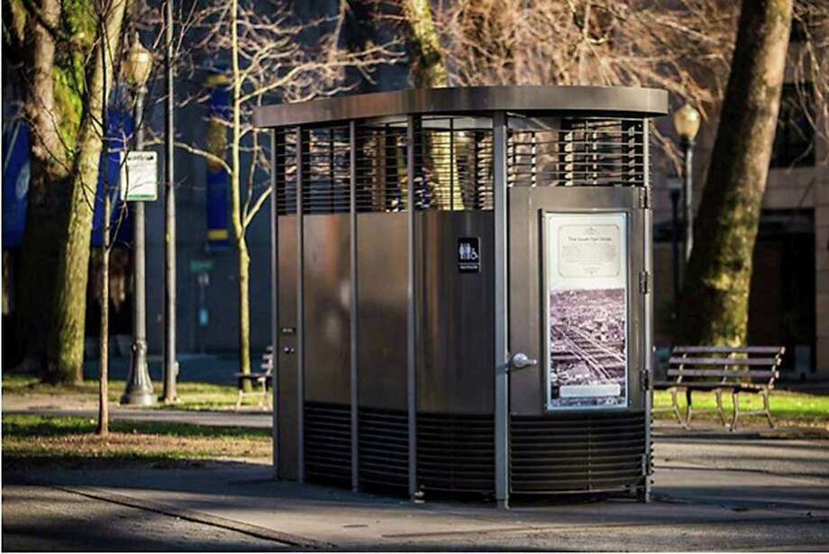 As the sun sets, shadows fall on a Portland Loo, the type of self-contained public restroom that will be installed in downtown San Antonio by the end of July. Photo: Courtesy Photo