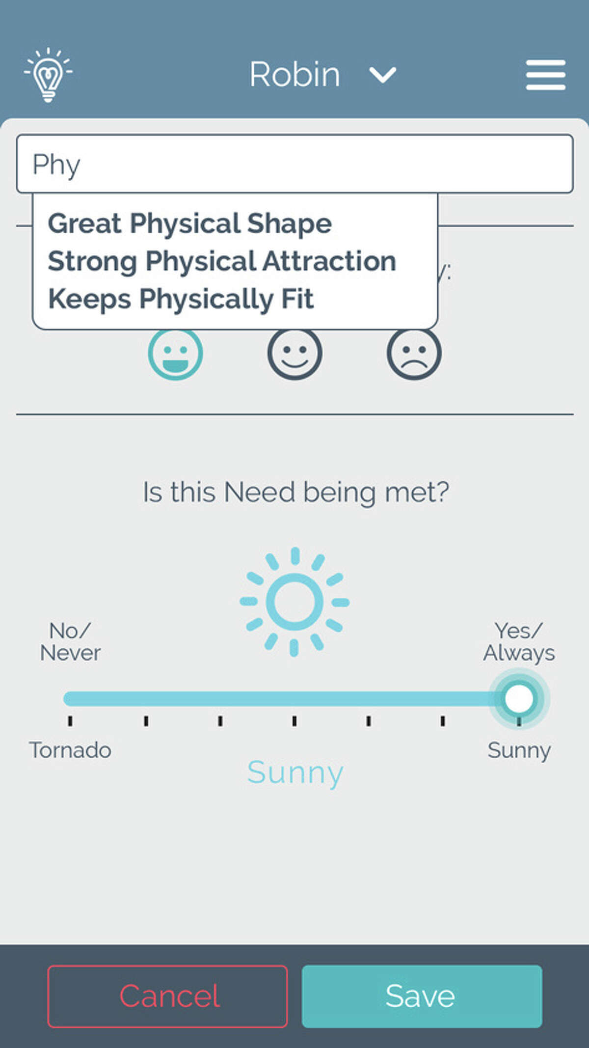 Interface for the Relationship Barometer app, created by Michael Gabriel of Greenwich. The app allows people to track the success of their relationship by detailing what they want and don't want in a relationship, and monitor how well those needs are being met.