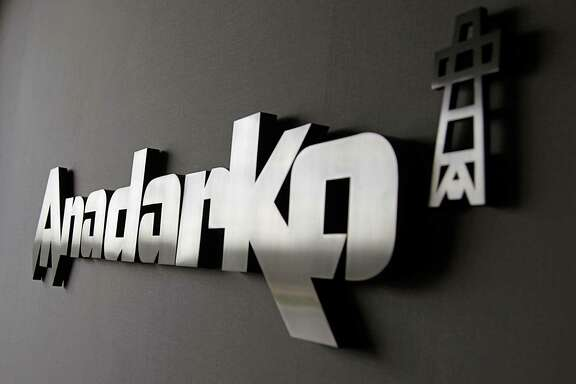 The corporate logo in a reception area at the Anadarko Petroleum campus Friday, Sept. 18, 2015, in The Woodlands.  ( James Nielsen / Houston Chronicle )
