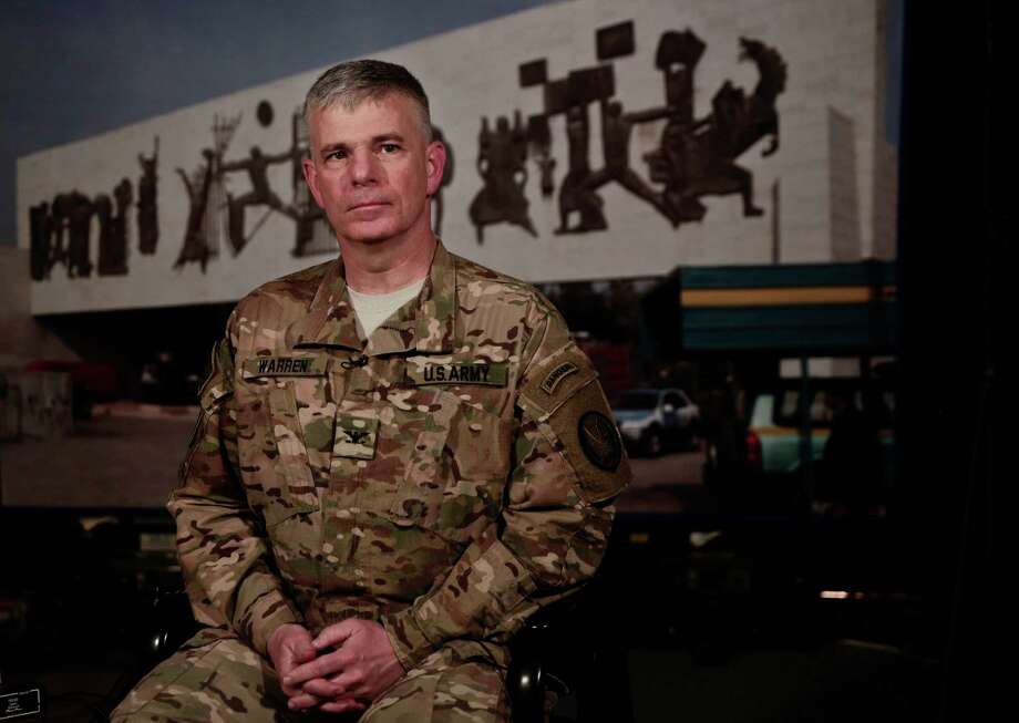 U.S. Army Col. Steve Warren, spokesman for the U.S.-led coalition against the Islamic State, said in Baghdad Thursdaythat the newly obtained files could help in repressing IS' foreign fighter networks. Photo: Maya Alleruzzo, STF / PA Wire