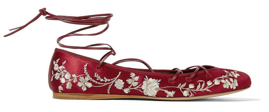 This ballerina flat with laces by Etro is the latest trend for spring and summer 2016. It is available in cream, claret and black and retails for $1,120 at www.netaporter.com. Photo: Courtesy Of Net-A-Porter