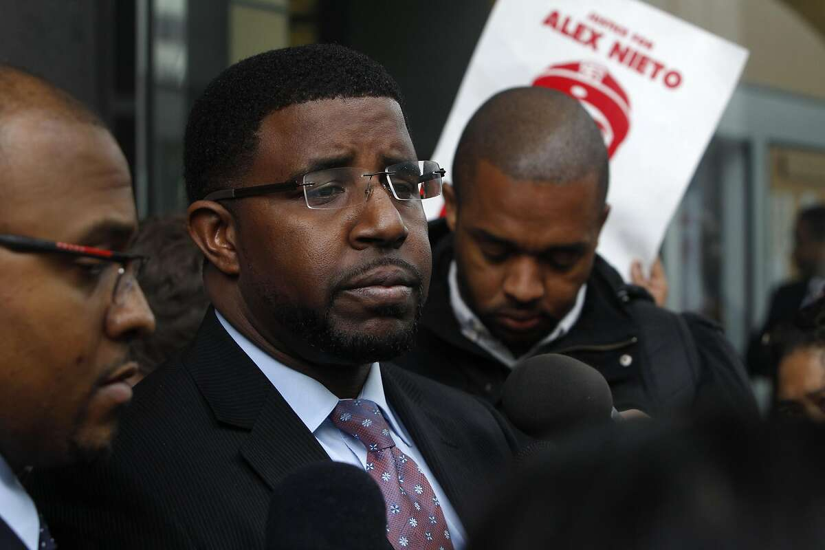 Adante Pointer, the lawyer of Nieto's parents, speaks to the press at the San Francisco Federal Courthouse on March 10, 2016 after the verdict of Not Guilty for the federal civil rights trial. The trial covered conflicting versions of what happened when four officers shot and killed 28-year old Alex Nieto at Bernal Heights Park on March 21, 2014.