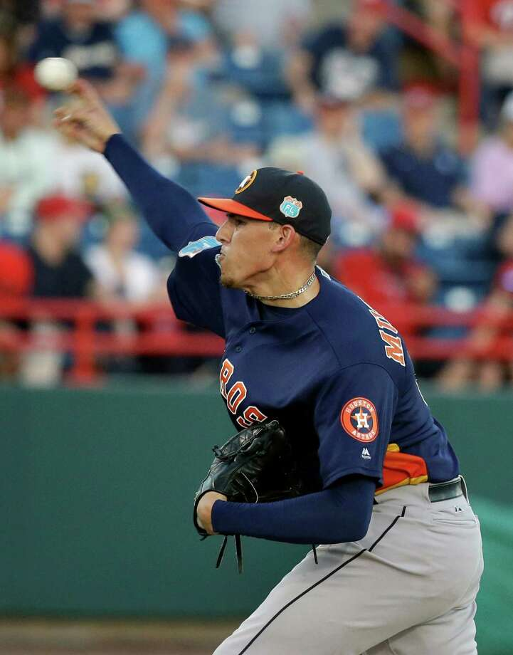 Houston Astros' Joe Musgrove pitches Washington Nationals in the fifth inning of a spring training baseball game, Thursday, March 10, 2016, in Viera, Fla. Photo: John Raoux, AP / Copyright 2016 The Associated Press. All rights reserved. This material may not be published, broadcast, rewritten or redistribu