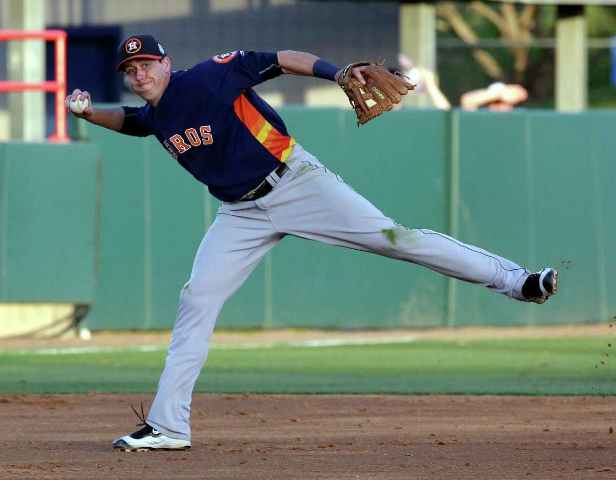 Houston Astros third baseman Matt Duffy makes a throw to first base but fails to get the runner out in the fourth inning of a spring training baseball game against the Washington Nationals, Thursday, March 10, 2016, in Viera, Fla.