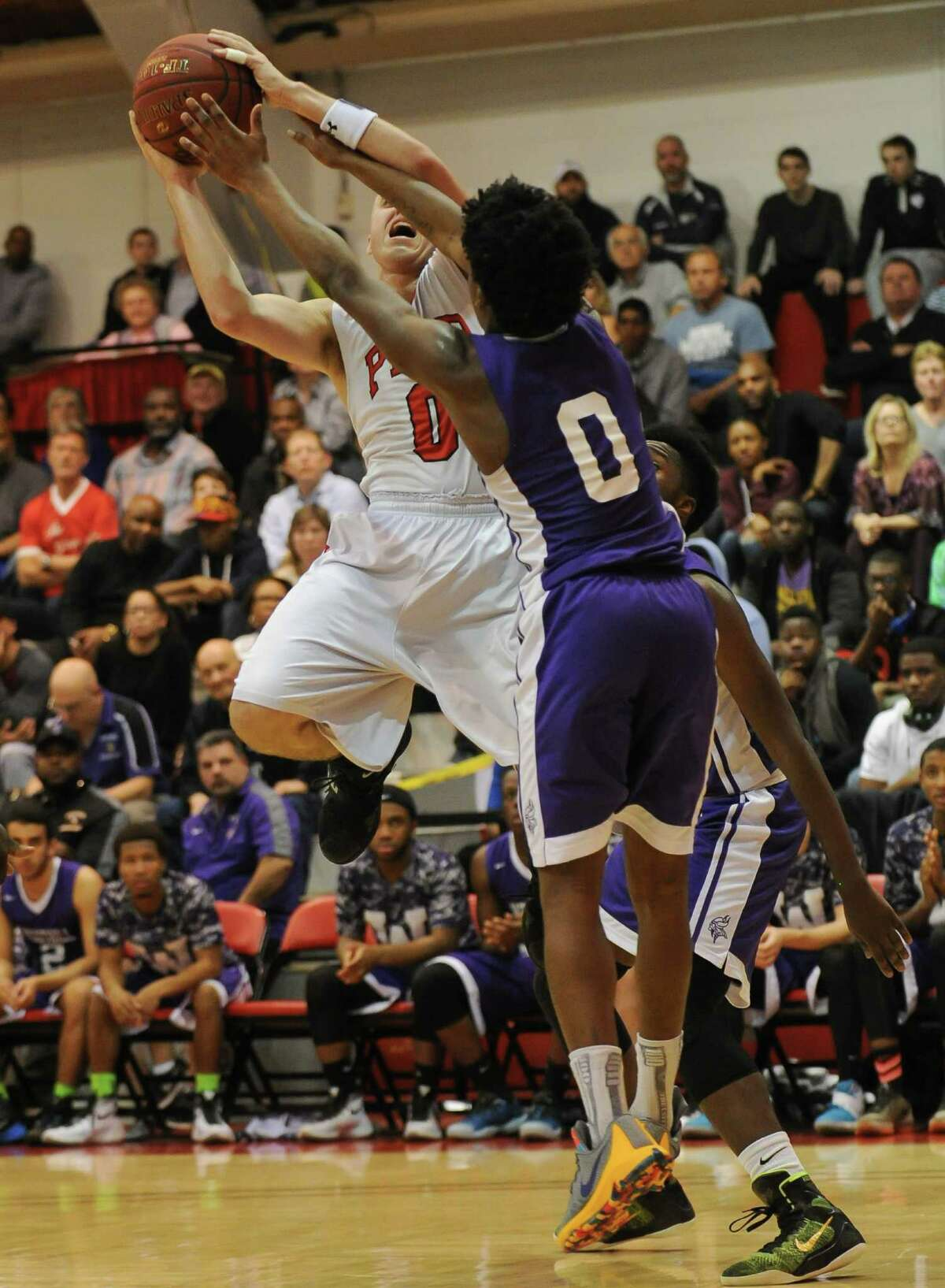 Basketball action during the second round of the Connecticut Class LL Basketball Championships between the Fairfield Prep Jesuits and the Westhill Vikings at Alumni Hall, Fairfield University on March 10, 2016 in Fairfield, Connecticut.