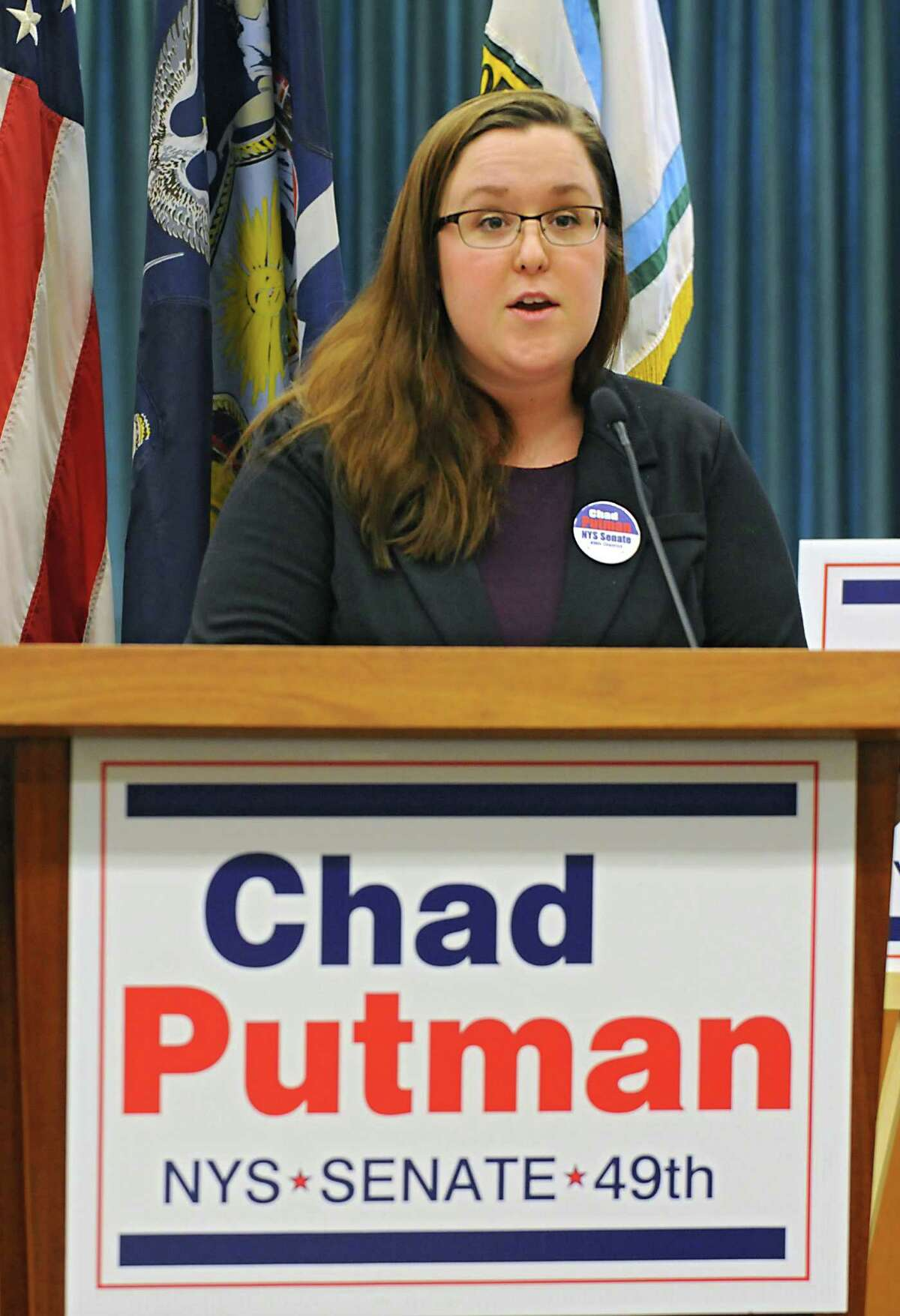 Sara Mae Hickey, Owner, Puzzles Cafe, states her support for Chad Putman who announced his candidacy for New York State's 49th Senate District at Niskayuna Town Hall on Thursday, March 10, 2016, in Niskayuna, N.Y. (Lori Van Buren / Times Union)