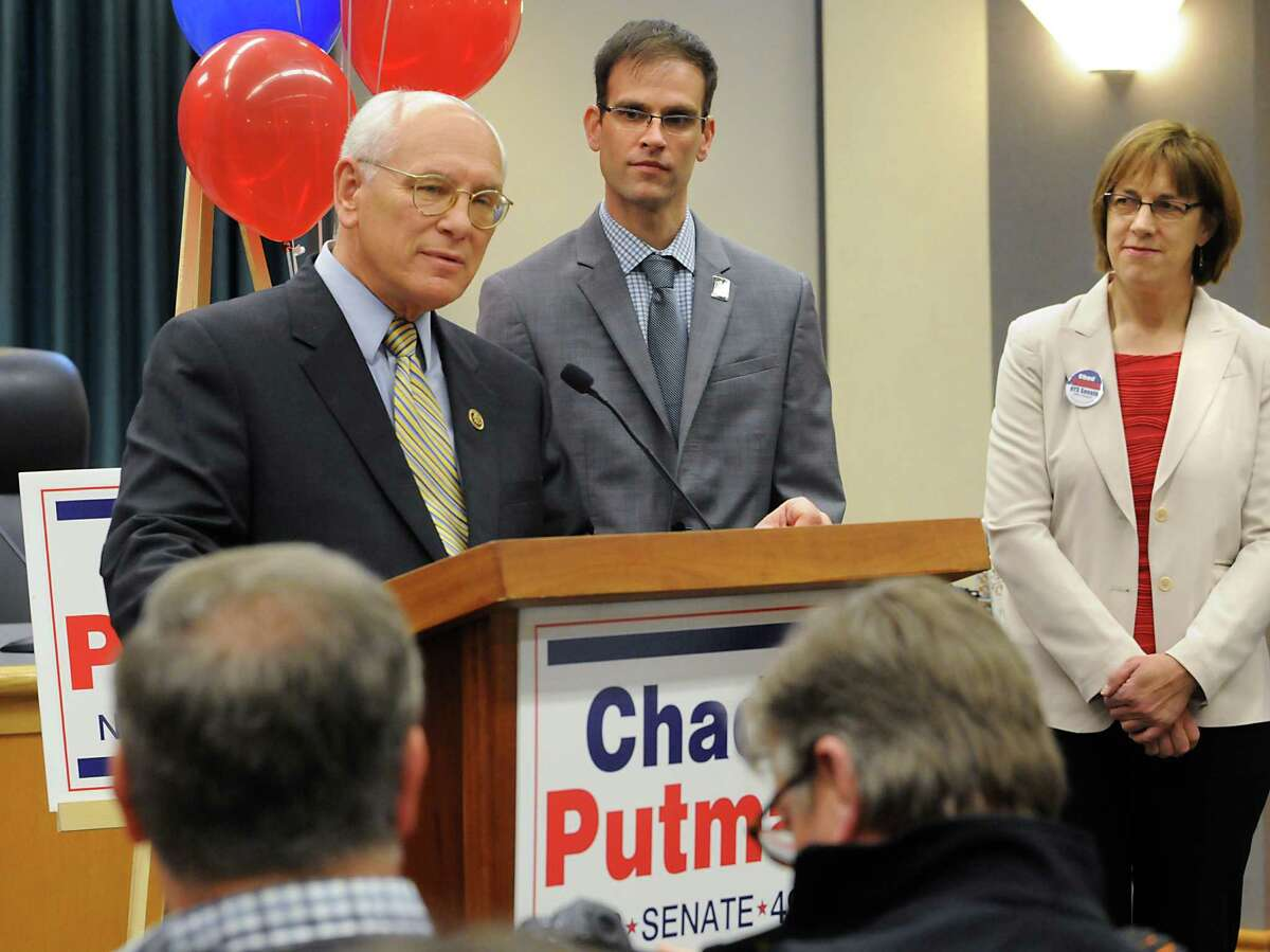 Congressman Paul Tonko states his support for Chad Putman, center, who announced his candidacy for New York State's 49th Senate Districtat Niskayuna Town Hall on Thursday, March 10, 2016, in Niskayuna, N.Y. Former New York State senator Cecilia Tkaczyk stands to the right. (Lori Van Buren / Times Union)