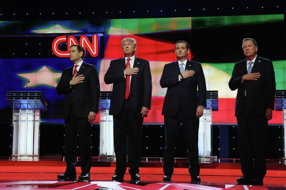 File photo of the Republican Presidential Primary Debate on the campus of the University of Miami on March 10, 2016 in Coral Gables, Florida. AT&T isn't looking to spin off CNN as part of its $85 billion acquisition of the media titan Time Warner. Photo: Joe Raedle /Getty Images / 2016 Getty Images