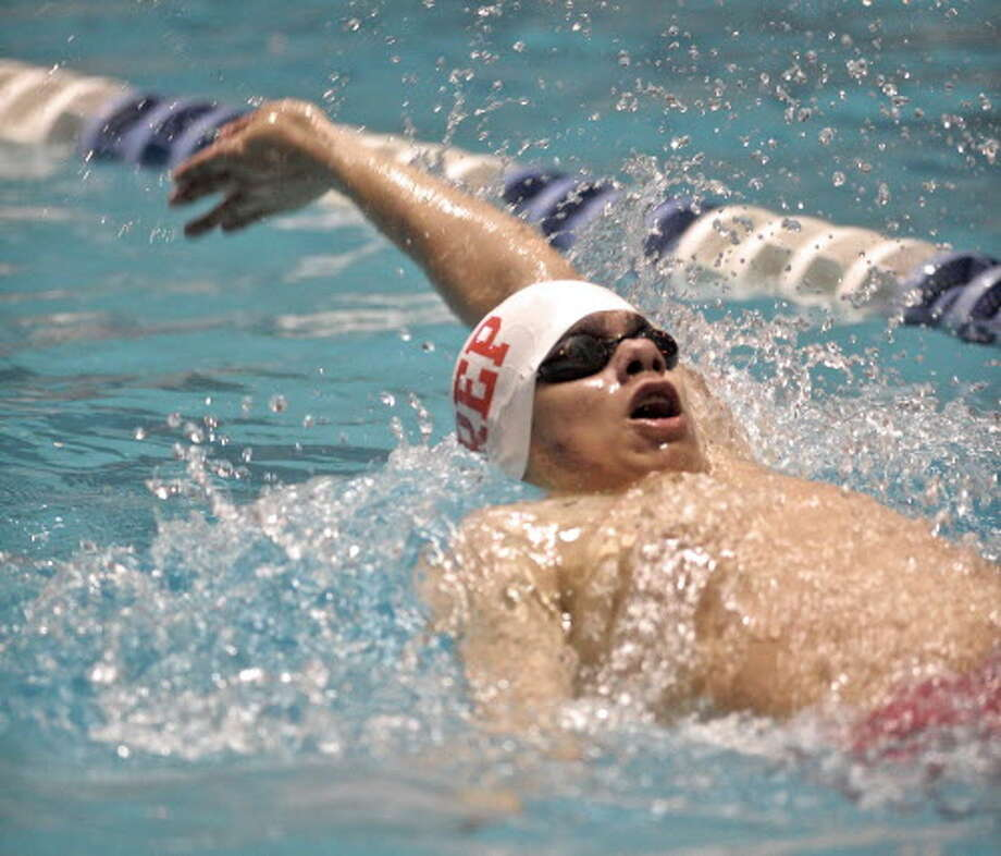 Fairfield Prep's Guido Balderrama competes in the 100 Yard Backstroke during the Connecticut State High School Boy's Swimming Open Championship, held at Kiputh Pool at Yale University, in New Haven, Conn, on Saturday March 21, 2015. Photo: H John Voorhees III / H John Voorhees III / The News-Times