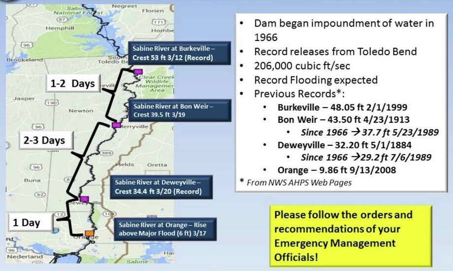 Sabine release from Toledo Bend exceeds record - Beaumont ... on chattahoochee river map, wabash river map, united states river map, brazos river map, rio negro river on a map, ohio river map, guadalupe river map, bayou lafourche map, st. johns river map, calcasieu river map, colorado river map, dallas river map, trinity river map, pecos river map, galveston bay river map, tennessee river map, san joaquin river on a map, james river map, arkansas river map, willamette river map,