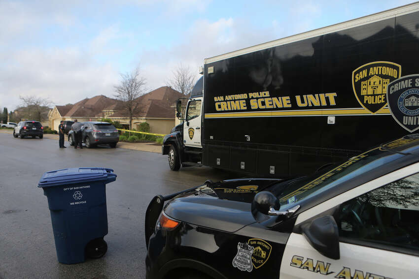 San Antonio police investigate Friday March 11, 2016 at the scene of a double shooting in the Rogers Ranch neighborhood on the 3600 block of Ivory Creek. Sergeant Justin Good said police were notified about 7:30 a.m. of the shooting and said a woman was transported to the hospital in critical condition. The shooting allegedly involved a husband and wife.