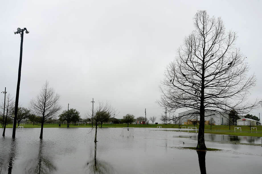 The soccer fields at the Cris Quinn Memorial Soccer Complex were covered by flood waters Thursday morning after heavy rainfall this week.  Photo taken Thursday 3/10/16 Ryan Pelham/The Enterprise Photo: Ryan Pelham / ©2016 The Beaumont Enterprise/Ryan Pelham