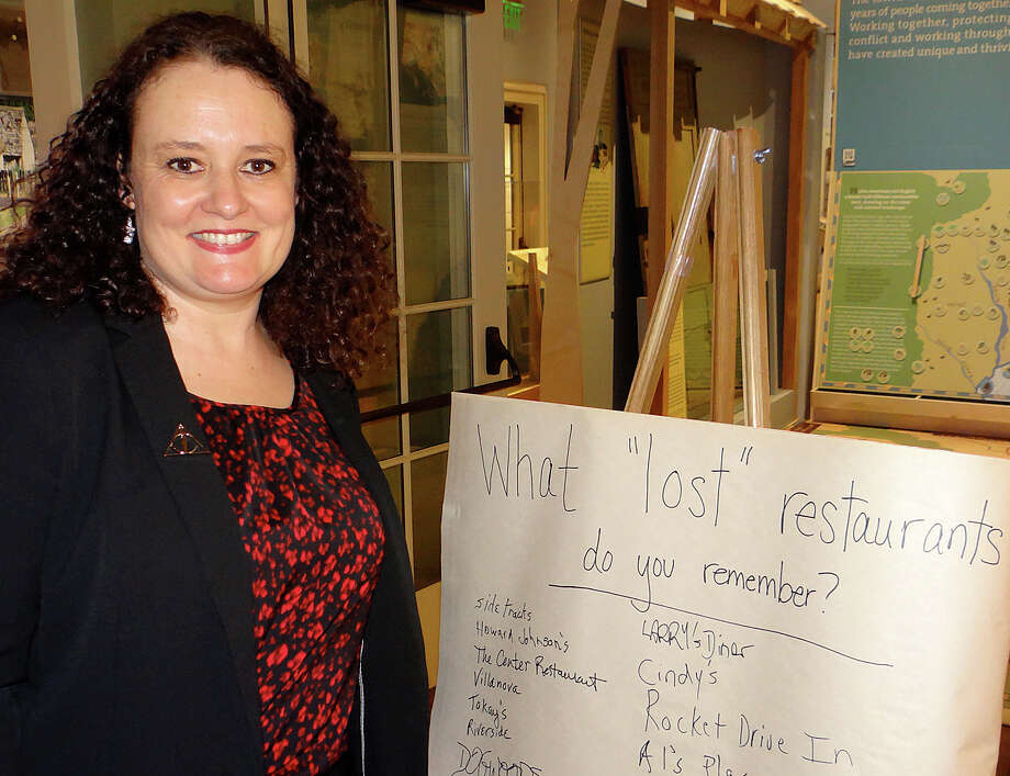 "Patti Woods, author of the recently published ""Lost Restaurants of Fairfield,"" was a featured speaker at the Fairfield Museum and History Center's Brews & Bites event. Photo: Fairfield Citizen / Mike Lauterborn / Fairfield Citizen"