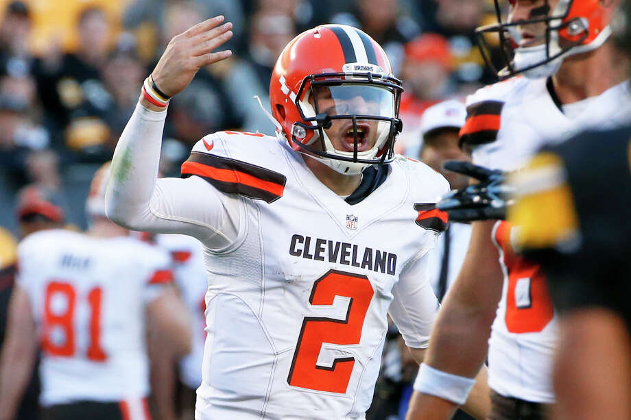 In this Nov. 15, 2015, file photo, Cleveland Browns quarterback Johnny Manziel (2) plays during an NFL football game against the Pittsburgh Steelers, in Pittsburgh. The Browns have released troublesome quarterback Johnny Manziel. The team cut ties on Friday, March 11, 2016, with the 2012 Heisman Trophy winner after two disappointing, drama-filled seasons. Manziel faces an uncertain future in the NFL and potential criminal charges in Texas following a domestic violence incident. Photo: Gene J. Puskar /AP / AP