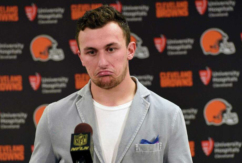 In this Nov. 15, 2015, file photo, Cleveland Browns quarterback Johnny Manziel attends a post-game news conference after a 30-9 loss to the Pittsburgh Steelers, in Pittsburgh. The Browns have released troublesome quarterback Johnny Manziel. Photo: Don Wright /AP / FR87040 AP