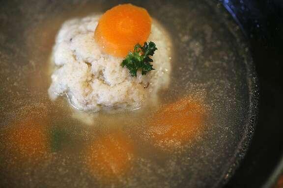 San Francisco School cook Patty Corwin shows matzo ball soup made at home in San Francisco, California, on thursday, march 10, 2016.