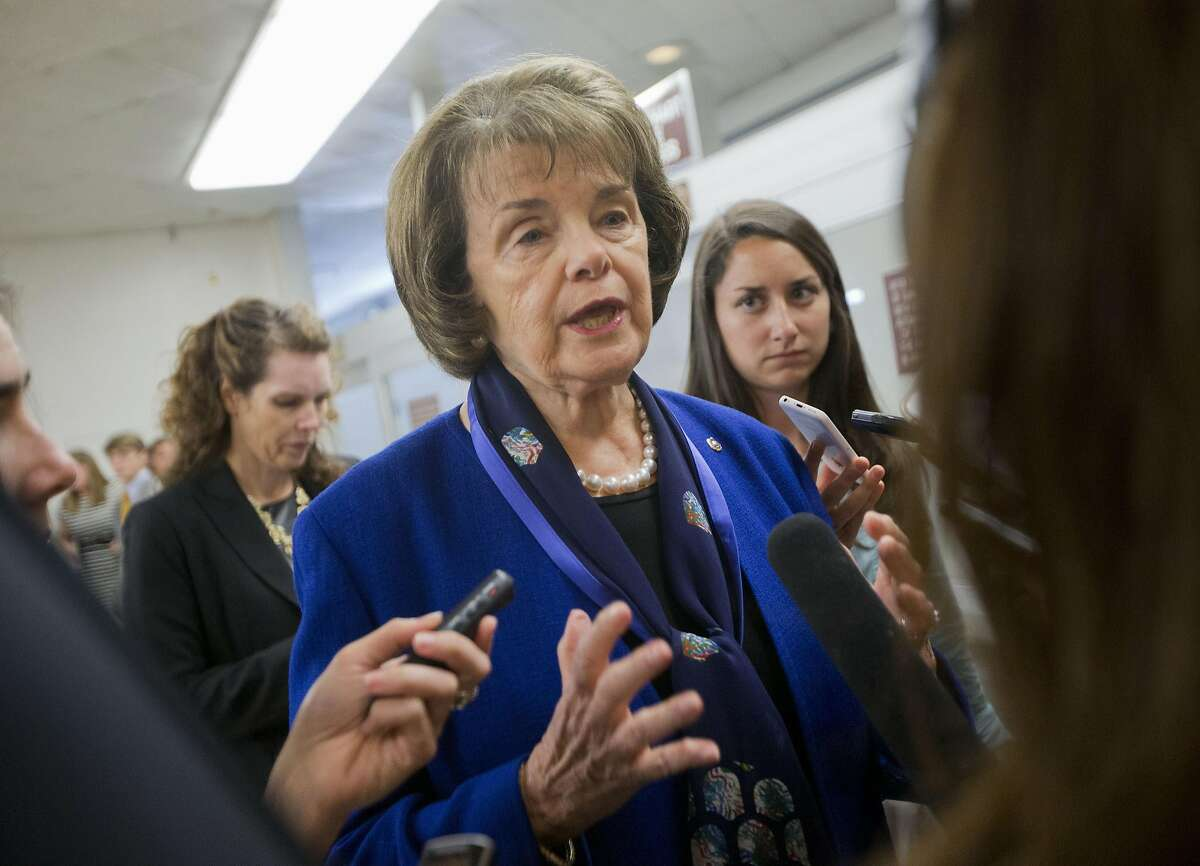 FILE - In this June 2, 2015 file photo, Senate Intelligence Committee Vice Chair Sen. Dianne Feinstein, D-Calif. speaks with reporters on Capitol Hill in Washington. Tough talk about torture is a guaranteed applause line for Donald Trump on the GOP presidential stump. Trump has repeatedly advocated waterboarding, an enhanced interrogation technique that simulates the feeling of drowning. Last year, Feinstein and Sen. John McCain, R-Ariz. introduced an amendment to the 2016 defense policy bill that essentially codified the executive order of President Barack Obama. Feinstein said it was important because a future president could lift Obama�s executive order. (AP Photo/Pablo Martinez Monsivais, File)