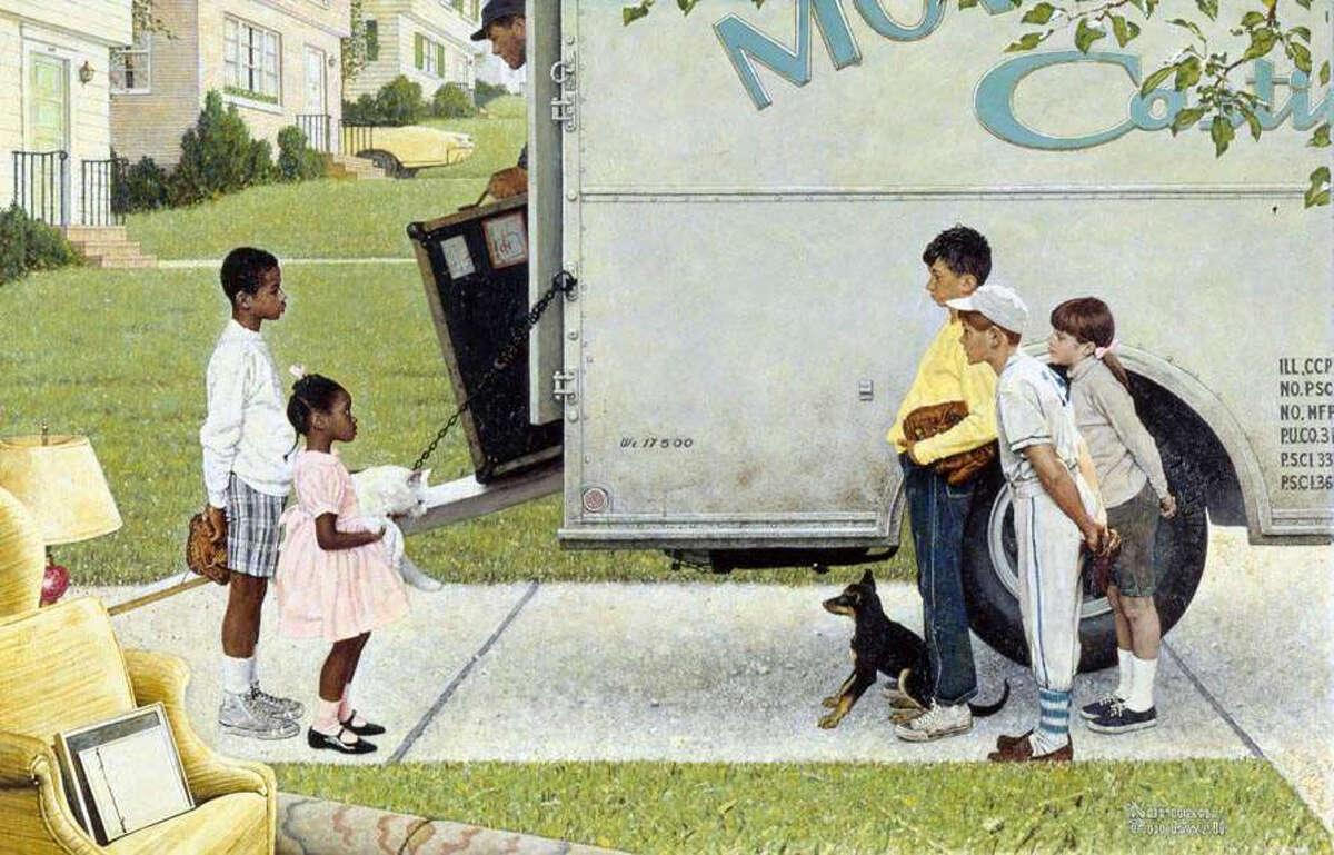 Norman Rockwell, American (1894-1978), New Kids in the Neighborhood, 1967, tear sheet, story illustration for LOOK, May 16, 1967, Norman Rockwell Museum Collections.