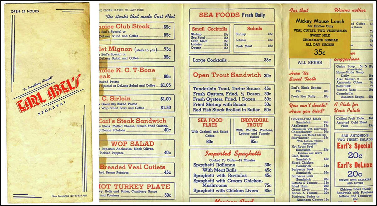2. Original 1937 menu from Earl Abel's Restaurant, sold at their closing/relocation auction, $45, May 12, 2006