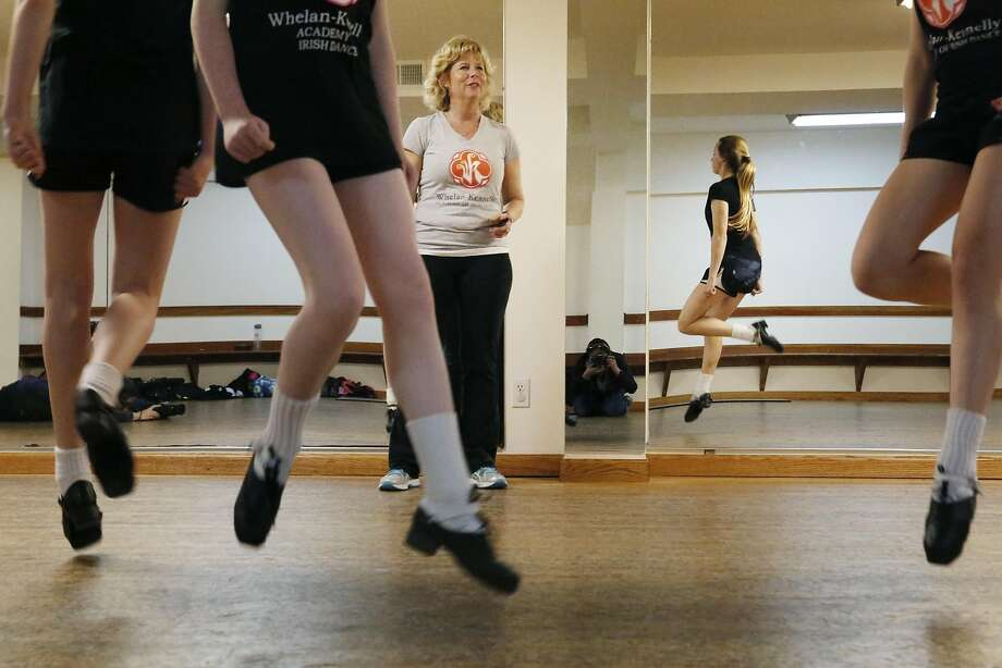 Sharon Whelan MacSweeney, co-director and co-owner, teaches at the Whelan-Kennelly Academy of Irish Dance. Photo: Lea Suzuki, The Chronicle