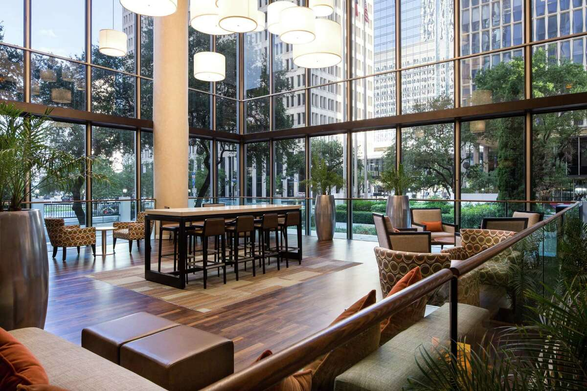 The Crowne Plaza Houston Downtown is being remodeled and rebranded as The Whitehall. On April 14 the hotel, part of the Sotherly Hotels portfolio, will officially change its name and also rebrand its restaurant as Edgar's Hermano. Shown: Atrium by day.