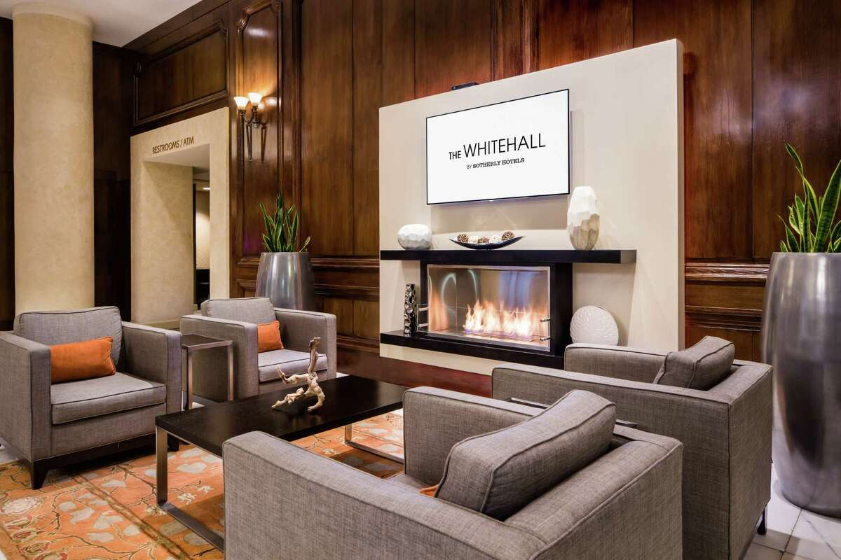 The Crowne Plaza Houston Downtown is being remodeled and rebranded as The Whitehall. On April 14 the hotel, part of the Sotherly Hotels portfolio, will officially change its name and also rebrand its restaurant as Edgar's Hermano. Shown: Lobby seating.