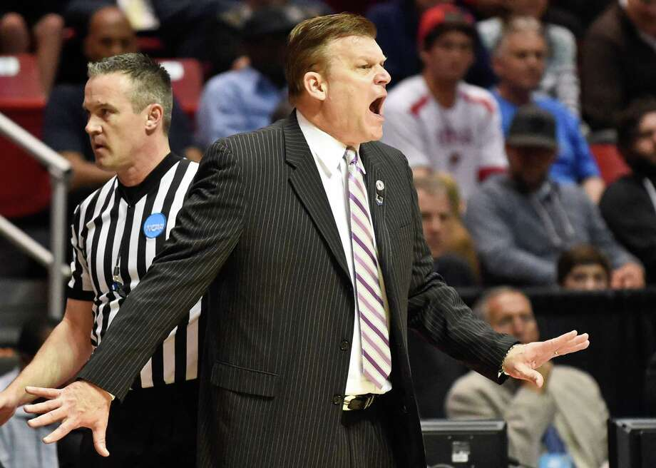 Stephen F. Austin head coach Brad Underwood reacts during the first half of a third-round game against UCLA in NCAA tournament on March 23, 2014, in San Diego. Photo: Gregory Bull /Associated Press / AP