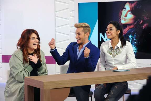 NEW YORK, NY - MARCH 09:  Meghan Trainor, Frankie Grande and Rachel Smith on set at Amazon's Style Code Live on March 9, 2016 in New York City.  (Photo by Craig Barritt/Getty Images for Amazon)