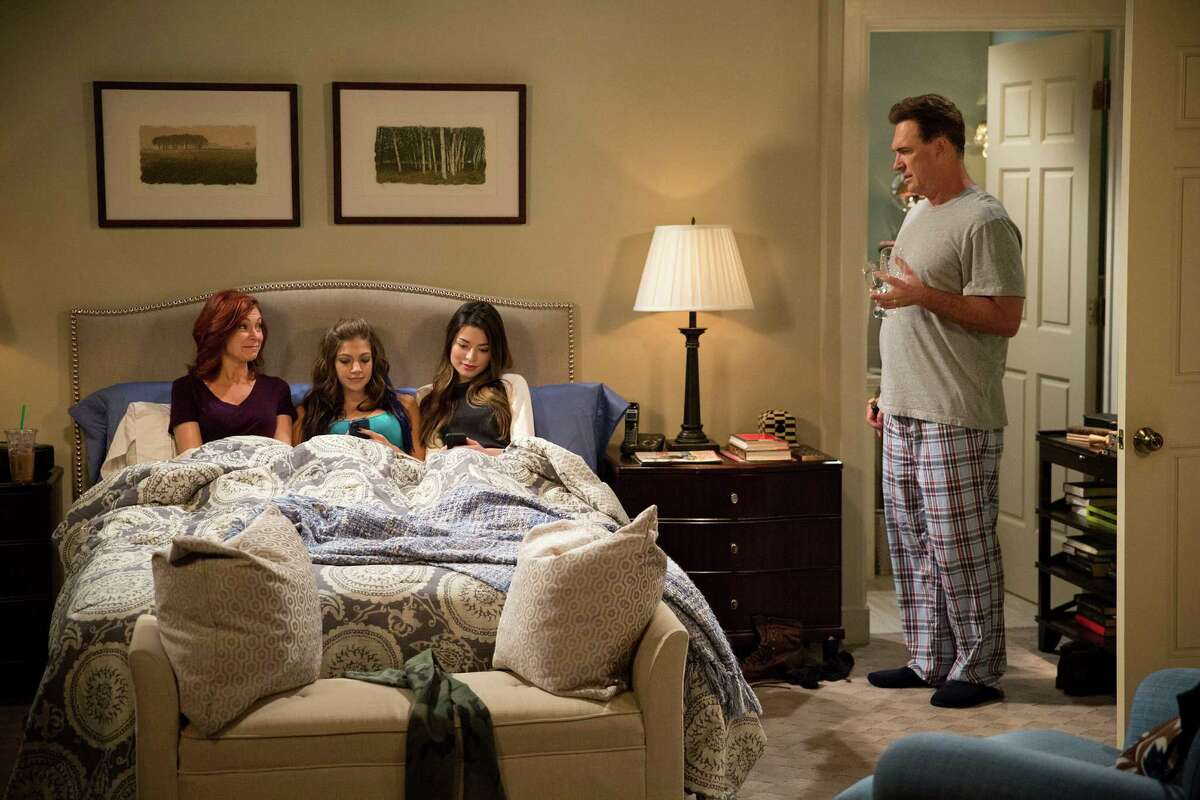 """Carrie Preston, Mia Serafino, Miranda Cosgrove and Patrick Warburton make up part of the agreeable cast in """"Crowded."""""""