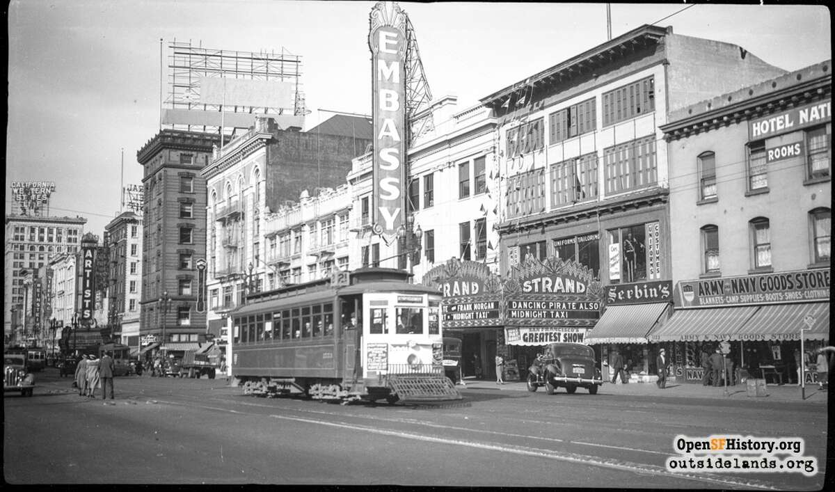Popular theaters once peppered Market Street and various arteries of the city. Here we see theEmbassy and Strand Theatersnear 7th Street in June of 1938. The following slides illustrate the former vibrancy of these theaters and capture thedemolition or revitalizationof some longtime attractions. Photo courtesy of OpenSFHistory.org.