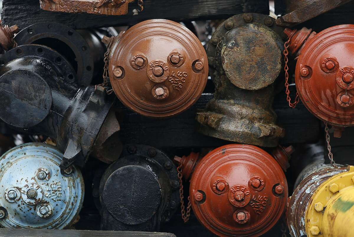 The Public Utilities Commission will have a fire sale on $6 million worth in spare parts for the city�s 100-year-old auxiliary water supply system with some of the parts presently stored at Davidson yard in San Francisco, California, on friday, march 11, 2016. These may be up for sale being part of the vast underground network of high-pressure pipes and hydrants that were designed for firefighting efforts should city water mains fail during a major earthquake.