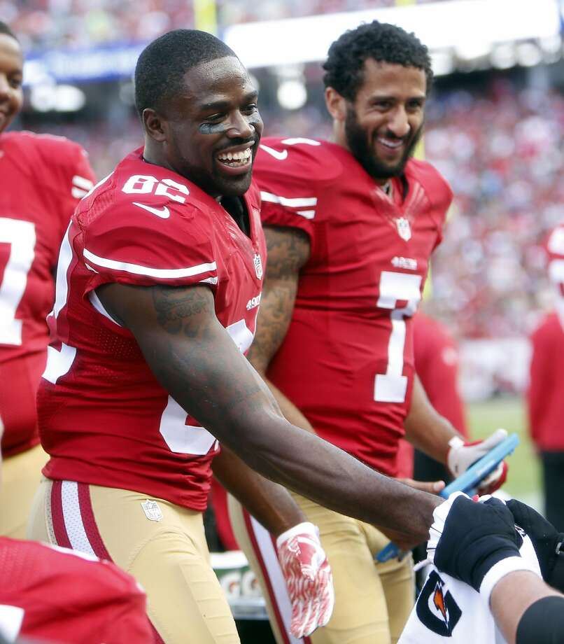 Torrey Smith and Colin Kaepernick in 2015. Photo: Scott Strazzante, The Chronicle