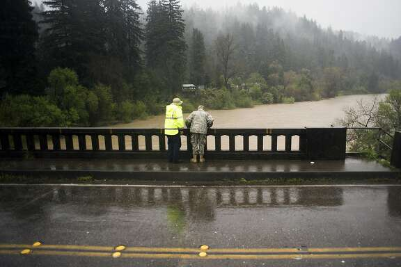 during low level flooding in Guerneville, CA on March 11, 2016 by the Russian River.