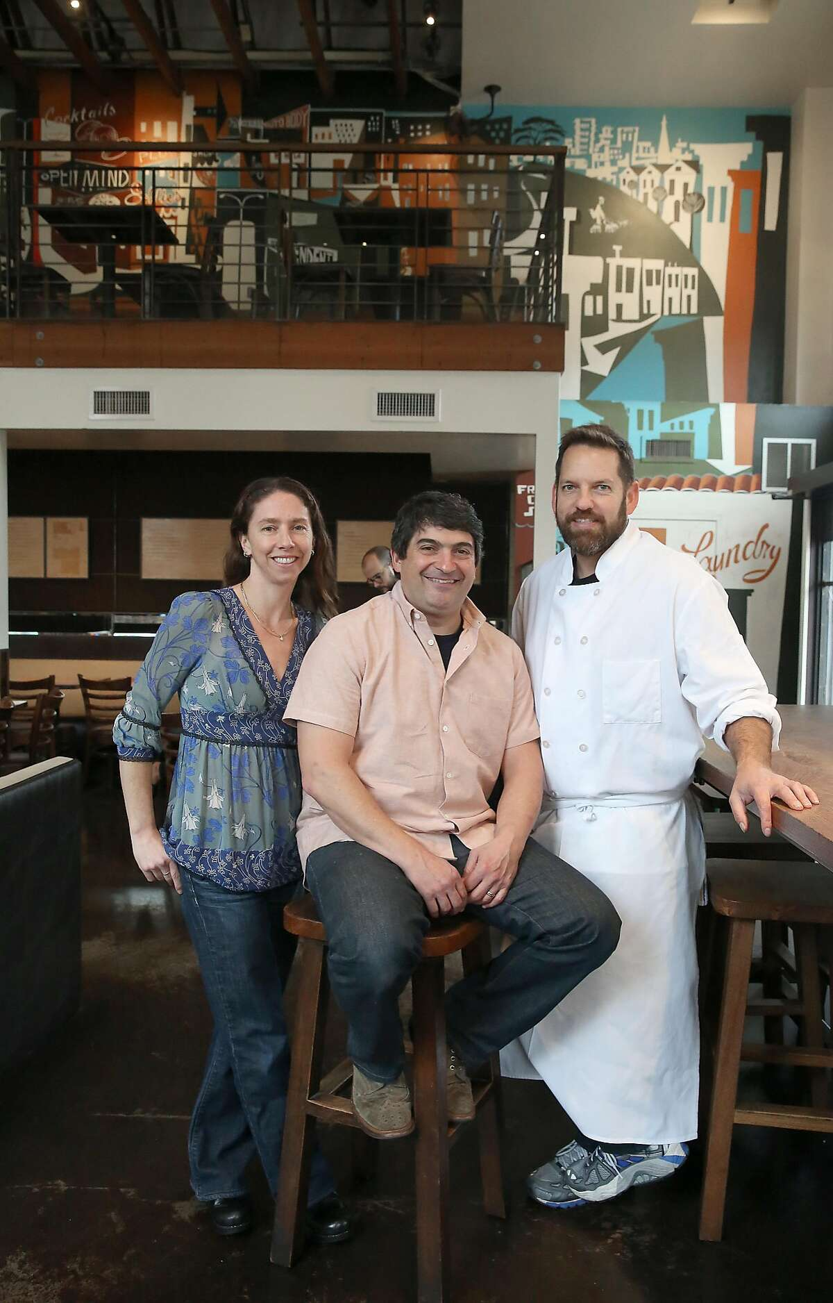 Owners Allyson Jossel (left), Jeff Hanek (middle), and Laurence Jossel (right) at Nopa in San Francisco, California, on tuesday, march 8, 2016. Nopa is celebrating it's tenth anniversary.