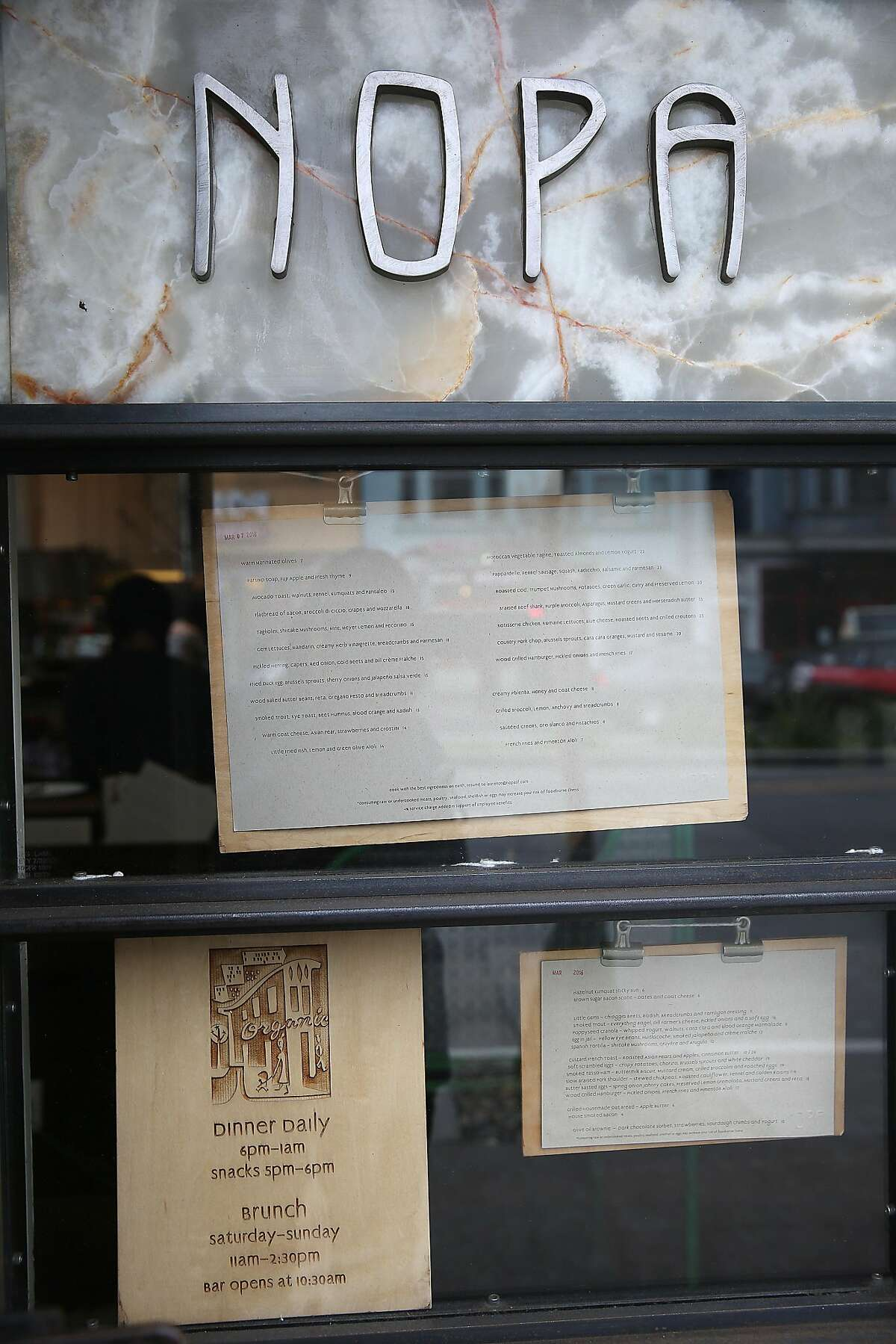 A view of the entrance outside of Nopa in San Francisco, California, on tuesday, march 8, 2016. Nopa is celebrating it's tenth anniversary.